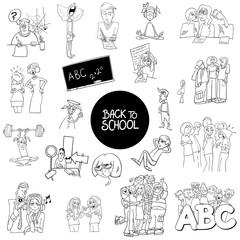 school and education carton set color book