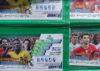 Lottery tickets referred to the World Cup are seen in La Paz