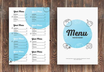 Menu Layout with Blue Circular Elements