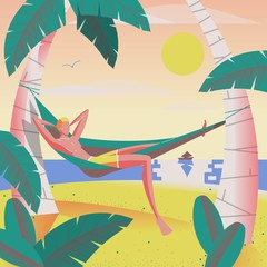 man relaxing in hammock under the palm trees