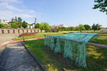 Fishing nets are dried in the sun