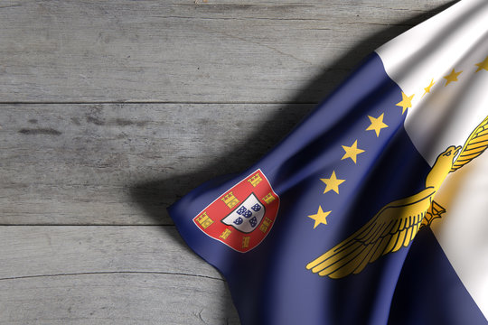 Azores flag over a wooden surface
