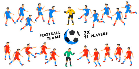 Football team set. Two full Football teams, 11 players. Soccer players on different positions playing football. Spectacular sport. Colorful flat style illustration. vector illustration Soccer players