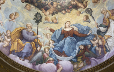 Wall Mural - PARMA, ITALY - APRIL 17, 2018: The fresco Assumption of Virgin Mary with the st. Joseph in the cupola of church Chiesa di Santa Lucia by Alessandro Baratta from 17. cent.