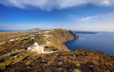 Santorini Island, View on the road to Church Panagia
