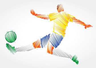 Brazilian soccer player stretching the body to dominate the ball made of colorful brushstrokes on light background