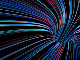 Tunnel of colorful glowing lines, 3d