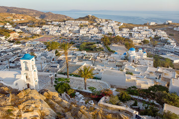 Aerial drone panorama of island of Ios, Cyclades, Greece