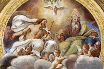 Canvas Prints Historical buildings PARMA, ITALY - APRIL 16, 2018: The ceiling freso of The Holy Trinity in church Chiesa di Santa Croce by Giovanni Maria Conti della Camera (1614 - 1670).