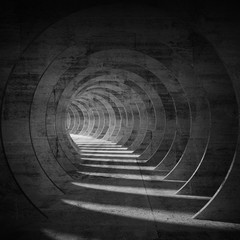 Empty dark concrete tunnel interior with perspective 3d