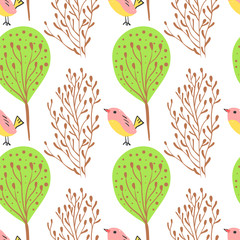 Forest simple sketh drawn hand seamless pattern with birds and forest . For wallpapers, web background, textile, wrapping, fabric, kids design. Scandinavian style