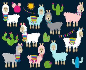 Cute Vector Collection of Llamas, Vicunas and Alpacas