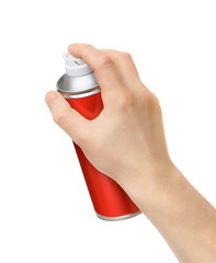 spray can in the male hand on white background