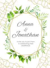 Wedding invitation with green leaves border and geometric pattern. Floral invite modern card template. Vector illustration.