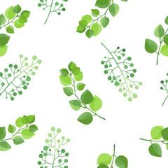 Green leaves seamless pattern. Vector illustration.