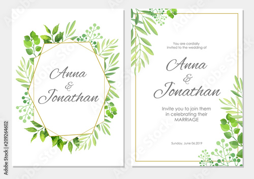 Modern Wedding Invitation Cards Template Vector 2