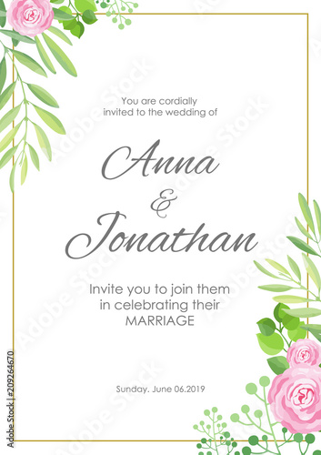 Wedding Invitation Green Leaves And Flowers Frame Template Vector