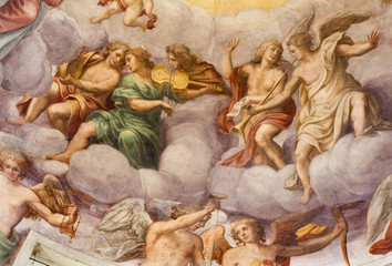 Fototapete - PARMA, ITALY - APRIL 16, 2018: The freso of angels with the music intstruments in the cupola of church Chiesa di Santa Croce by Giovanni Maria Conti della Camera (1614 - 1670).