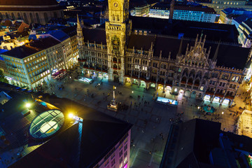Aerial view of The New Town Hall and Marienplatz at night, Munich, Germany