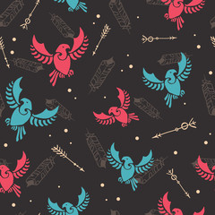 Arrows tribal birds arrows hunt seamless pattern. Great for folk modern wallpaper, backgrounds, invitations, packaging design projects. Surface pattern design.