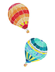 hot air balloons in watercolor