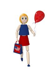 3d Mädchen mit Einkaufstasche und rotem Luftballon. 3d render