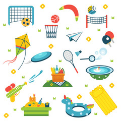 Summer holiday activity symbols set. Vector illustration set of isolated vacation summer elements. Elements flat collection of summer outdoor recreation and on the beach. Summer sport. Kids activities