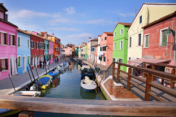 BURANO, ITALY - APRIL 08, 2018: colorful houses in the island of Burano, may 08, 2010 in Burano, Venice, Italy