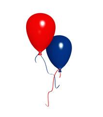roter und blauer Luftballon. 3d render