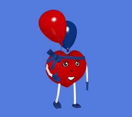 3d Character in Herzform mit Luftballons. 3d render