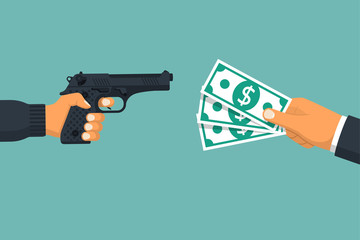 Criminal threatening gun extorts money from the victim. Robbery concept. Bandit with a gun.Money in hand. Vector illustration flat design.Isolatedonwhitebackground. Theftofcash.