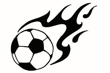 Soccer ball in fire, hand drawn simple illustration, black ball pattern with flame on white isolated. Football world cup sketch or drawing in doodles style. Sport icon illustration for tournament
