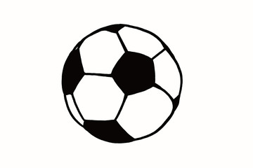 Soccer ball hand drawn simple illustration, black ball on white isolated. Football world cup icon sketch or drawing in doodles style. Sport art icon illustration. Soccer tournament