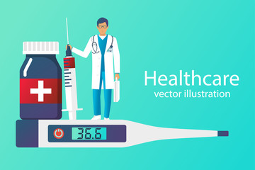 Healthcare concept. Set of medical equipment pills bottles thermometer. Doctor with syringe hold in hand isolated. Pharmacy treatment. Vector illustration flat design. Medicine background.