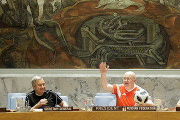U.N. Secretary-General Antonio Guterres and Russian U.N. Ambassador Vassily Nebenzia are seen wearing soccer jerseys to commemorate the inauguration of the Wold Cup at the United Nations headquarters in New York City