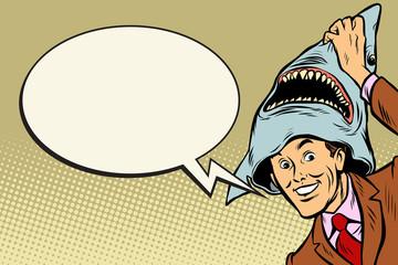 Joyful man, carnival shark costume