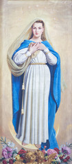 Wall Mural - PARMA, ITALY - APRIL 17, 2018: The painting of Immaculate Conception in church Chiesa di San Uldarico by D. Pozzi from 20. cent.