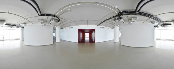 Spherical 360 degrees panorama projection, interior empty room in modern flat apartments.