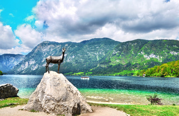 Bronze statue of Goldhorn Zlatorog deer.Landmark of Lake Bohinj  in Triglav national park,Slovenia