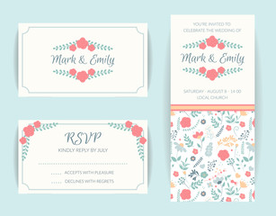 wedding invitation card suite, floral invite, rsvp modern card, save the date. Flower vetor decor.