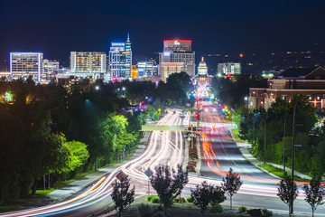 Boise,idaho,usa 2017/06/15 : Boise cityscape at night with traffic light. Wall mural