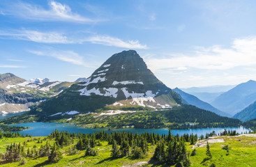 logan pass trail in Glacier national park on sunny day,Montana,usa.