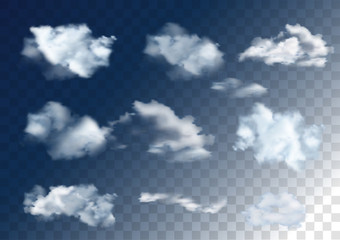 Realistic vector sky elements. Set of clouds on transparent background.