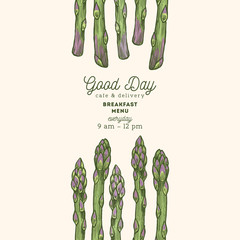 Vintage asparagus organic market design template. Organic vegetables. Vector illustration