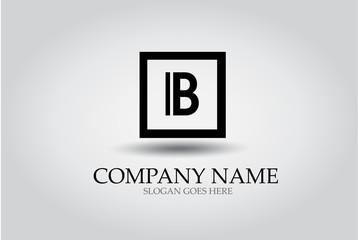 Letter  B Square Icon Design Element Template