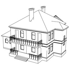 Vector sketch house on the white background. Vector architectural illustration