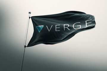 Verge XVG cryptocurrency icon on realistic flag 3d render.