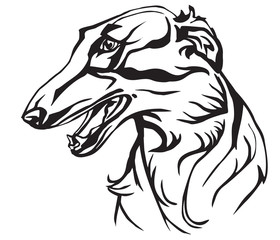 Decorative portrait of Russian Wolfhound vector illustration