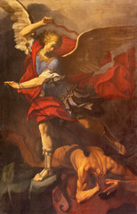 REGGIO EMILIA, ITALY - APRIL 12, 2018: The painting of Michael Archangel in Duomo church by Orazio Talami (1624 – 1708).