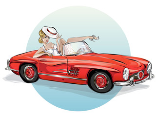 Pin up sexy woman in retro red car, pop art girl with cabriolet, pin-up summer vacation vector illustration art